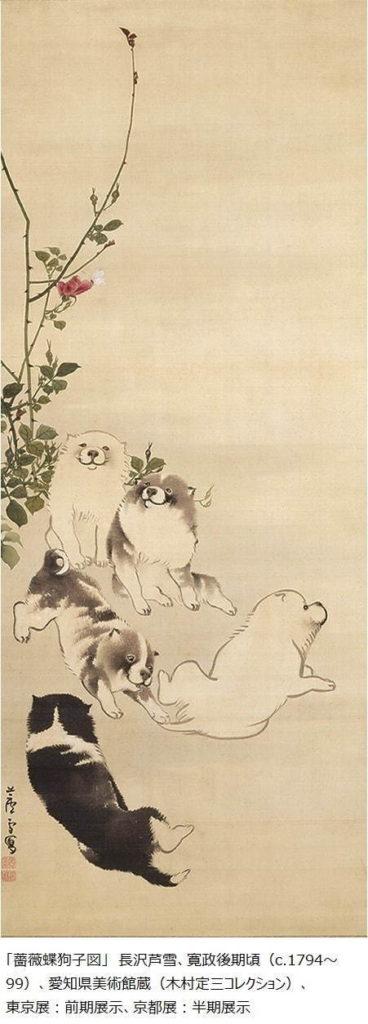 長沢芦雪『薔薇蝶狗子図』